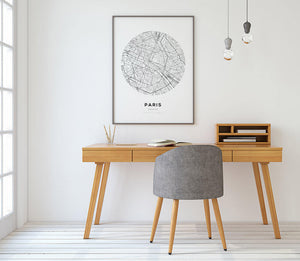 Paris Circle Map Print - Salt&Printer