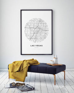 Las Vegas Circle Map Print - Salt&Printer