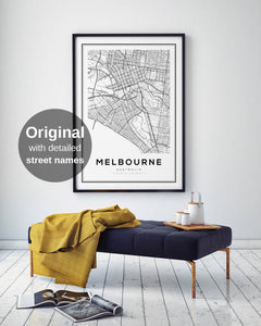 Melbourne City Map Print - Salt&Printer