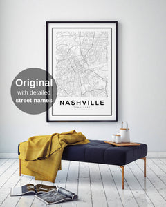 Nashville City Map Print - Salt&Printer