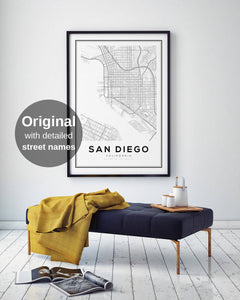 San Diego City Map Print - Salt&Printer