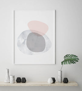 Pink and Grey Shapes Scandinavian Digital Wall Print - Salt&Printer