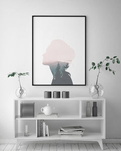 Pink Forest Girl Silhouette Digital Wall Print - Salt&Printer