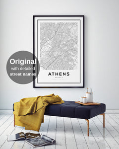 Athens City Map Print - Salt&Printer