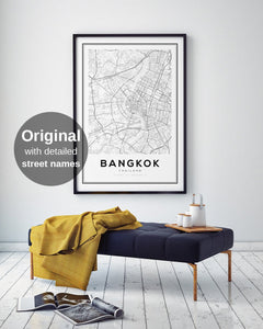 Bangkok City Map Print - Salt&Printer