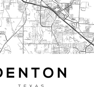 Denton City Map Print - Salt&Printer