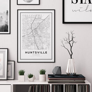 Huntsville City Map Print - Salt&Printer