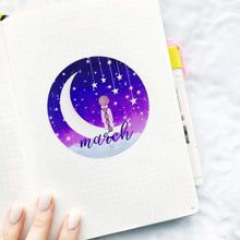 Load image into Gallery viewer, Girl on the Moon - Hand Drawn Sticker Decal - Bullet Journal Monthly Decal - Choose your Month