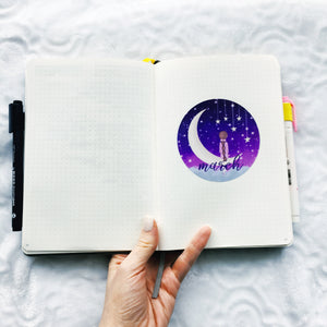 Girl on the Moon - Hand Drawn Sticker Decal - Bullet Journal Monthly Decal - Choose your Month