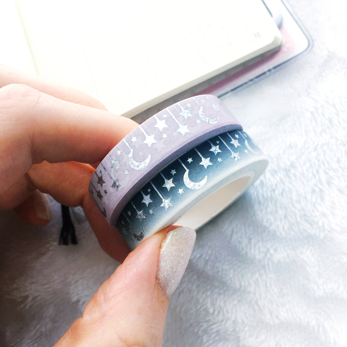 Celestial Washi Tape - Two Colors - Silver Pixie Holo Foil - Original Design - Accessories Collection