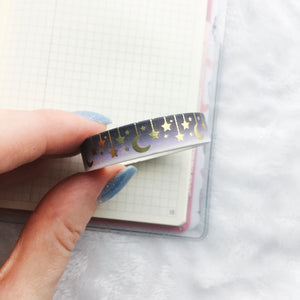 Gold Foil Celestial Washi Tape - Two Colors - Gold Foil - Original Design - Accessories Collection