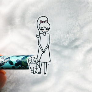 Walk the Dog - Primrose Hand Drawn Sticker Sheet