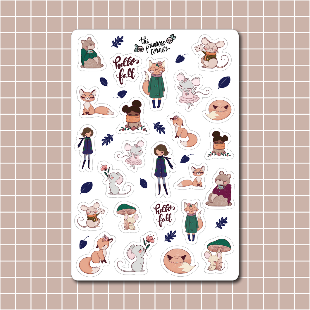 Autumn Woodland Sticker Sheet