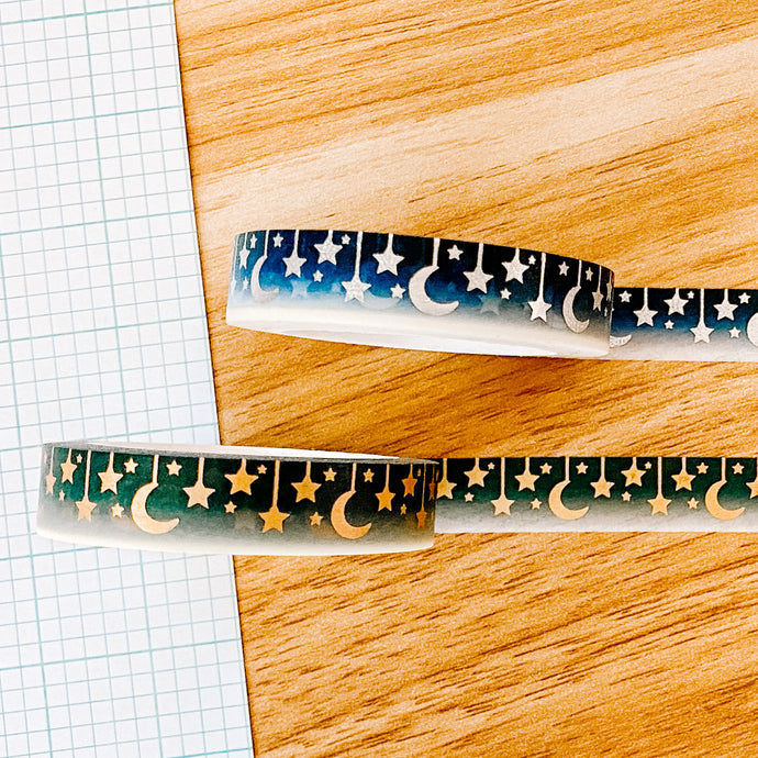 Celestial Washi Tape - Two Colors - Silver Pixie Holo Foil and Matte Gold Foil - Original Design - Accessories Collection