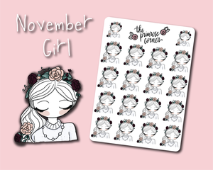 November Girl Sticker Sheet - Primrose Collection