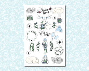 Two for $6.50 - Stay Cozy and Winter Wonderland Sticker Sheets - Premium weather resistant Matte Vinyl - Primrose Collection