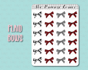 Plaid Bow Stickers