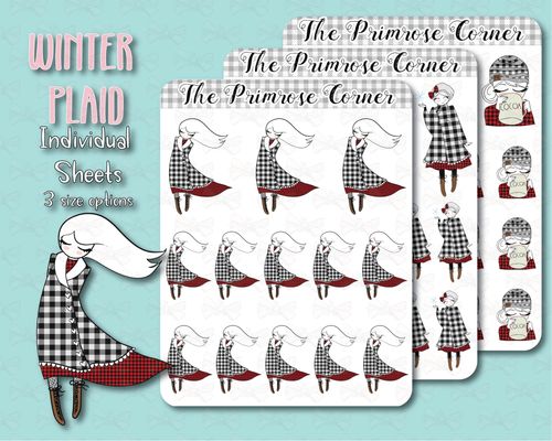 Buffalo Plaid Primrose Illustrations Sticker Sheets