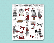 Load image into Gallery viewer, Buffalo Plaid Primrose Illustrations Sticker Sheets