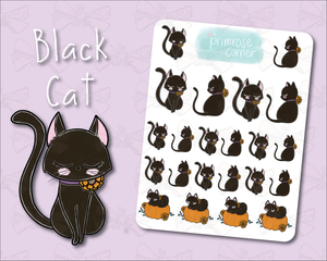 Black Cat Sticker Sheet - Halloween - Primrose Collection