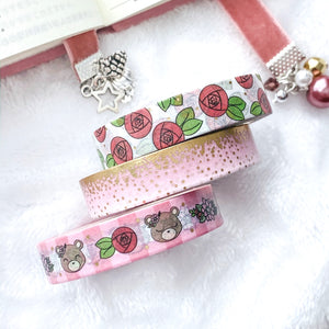 Pretty in Pink Washi Tape - Frosted Gold Foil - 3 Design Set - Accessories Collection