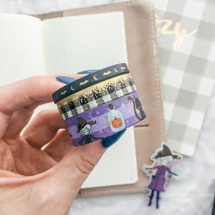 Halloween Washi Tape - Frosted Gold Foil - 3 Design Set - Accessories Collection