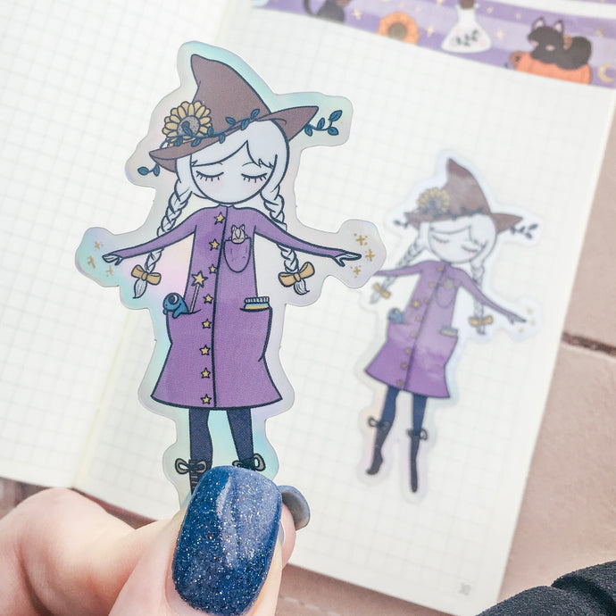 Witch Holographic Vinyl Sticker Decal - Halloween Collection - Primrose Collection