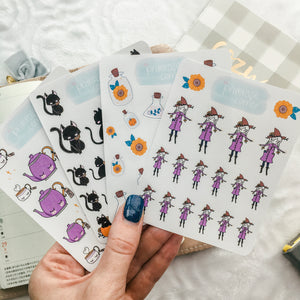 Witch Girl Sticker Sheet - Halloween - Primrose Collection