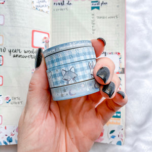 Stay Cozy Washi Tape - Blue - Silver Holo Foil - Set of Four - Original Design - Accessories Collection