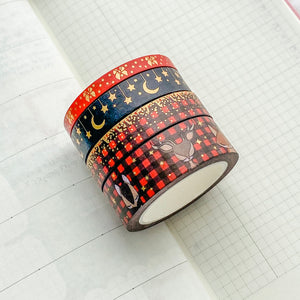 Winter Woodland Washi Tape - Red - Gold Holo Foil - Set of Four - Original Design - Accessories Collection