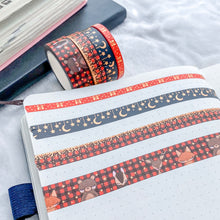 Load image into Gallery viewer, Winter Woodland Washi Tape - Red - Gold Holo Foil - Set of Four - Original Design - Accessories Collection