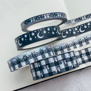 Black Holographic Washi Tape - Black - Silver Holo Foil - Set of Four - Original Design - Accessories Collection
