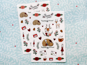 Winter Woodland Sticker Sheet - Premium weather resistant Matte Vinyl - Primrose Collection
