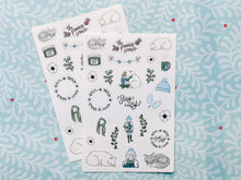 Load image into Gallery viewer, Two for $6.50 - Stay Cozy and Winter Wonderland Sticker Sheets - Premium weather resistant Matte Vinyl - Primrose Collection