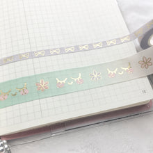 Load image into Gallery viewer, Pastel Kawaii Washi Tape Set - Two Rolls - Gold Foil - Original Design - Accessories Collection