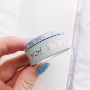 Pastel Kawaii Washi Tape Set - Two Rolls - Gold Foil - Original Design - Accessories Collection
