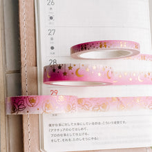 Load image into Gallery viewer, Ombre Pink Washi Tape - Holographic Gold Foil - 3 Design Set - Accessories Collection