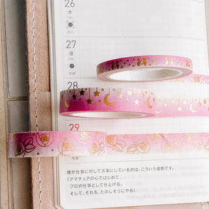 Ombre Pink Washi Tape - Holographic Gold Foil - 3 Design Set - Accessories Collection