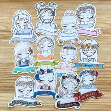 Load image into Gallery viewer, Full Set of Monthly Girl Die Cuts 2019 Edition - 12 Sticker Die Cuts - Primrose Collection