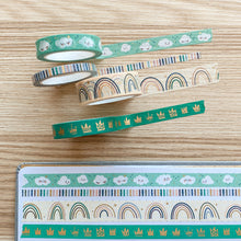 Load image into Gallery viewer, Autumn Rainbow Washi Tape - Multi - Matte Gold Foil - Set of Four - Original Design