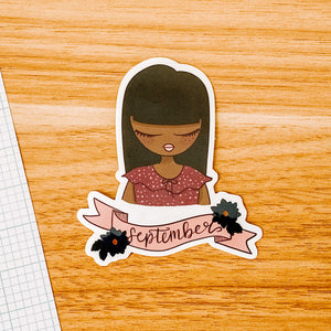 September Girl 2020 Vinyl Sticker Decal - Illustrated Collection