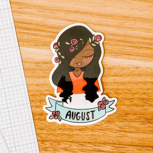 August Girl 2020 Vinyl Sticker Decal - Illustrated Collection