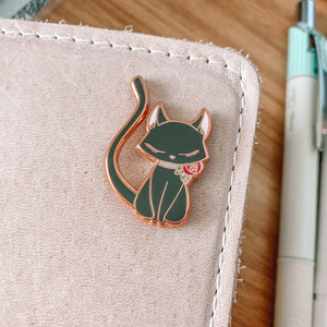 Kitty Magnetic Enamel Pin - Black and White - Rose Gold and Silver