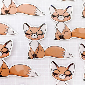 Fox with Glasses Vinyl Sticker Decal