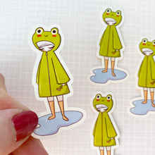 Load image into Gallery viewer, Frog Raincoat Vinyl Sticker Decal
