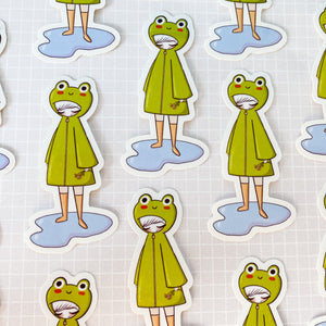 Frog Raincoat Vinyl Sticker Decal
