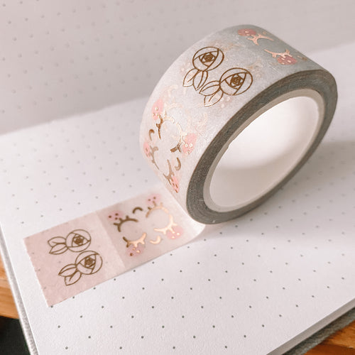 Kawaii TAB TAPE Washi Tape - Pink to Mint Ombre - Rose Gold Foil