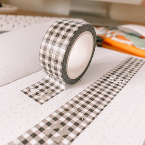 Bows TAB TAPE Washi Tape -Black Buffalo Check - Silver Holographic