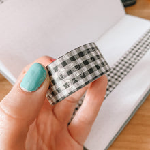 Load image into Gallery viewer, Bows TAB TAPE Washi Tape -Black Buffalo Check - Silver Holographic