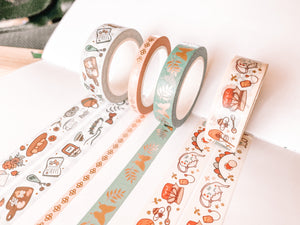 Cottagecore Washi Tape - Rose Gold Foil - Set of Four - Original Design